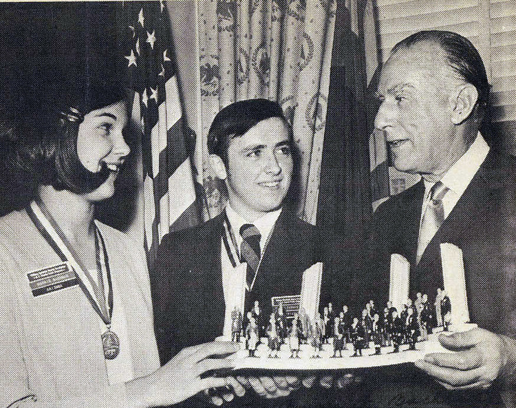 This photo was taken at the Eighth Annual Senate Youth Program reception in 1970.  The 48th annual edition of the same event is coming up soon on Wednesday, March 10 2010.  On January 28, 1970, U.S. Senator Paul Fannin (R-Ariz.) took ten minutes from his busy schedule to personally congratulate Arizona's two delegates to the Eighth Annual U.S. Senate Youth Program.  It was the highlight of the week for Chandini Margaret Bachman and Kevin T. Tehan, high school student leaders who won a state-wide competition to experience their government in action.  The 48th Annual U.S. Senate Youth Program will be held in Washington, D.C., from March 6-13, 2010.
