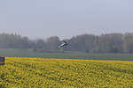 TV helicopter over rape seed fields on route near Noyon during the 115th edition of the Paris-Roubaix 2017 race running 257km Compiegne to Roubaix, France. 9th April 2017.<br /> Picture: Eoin Clarke | Cyclefile<br /> <br /> <br /> All photos usage must carry mandatory copyright credit (&copy; Cyclefile | Eoin Clarke)