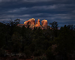 Cloudy Morning at Cathedral Rock ©2019 James D Peterson.  The weather was wintry, cold, and threatening, but sunbeams occasionally broke through to warm things up, and the result was nothing short of sublime.  This view is in the Coconino National Forest near Sedona, Arizona.