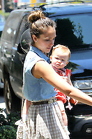 Jessica Alba took her family to a shopping at the posh kids store Bel Bambini in West Hollywood. Jessica, hubby Cash Warren, Honor_and Haven were spotted leaving the boutique with balloons and a huge gift basket. Los Angeles, California on 23.06.2012..Credit: Correa/face to face.. /MediaPunch Inc. ***FOR USA ONLY*** ***Online Only for USA Weekly Print Magazines*** / Mediapunchinc NORTEPHOTO.COM<br />
