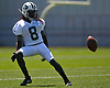 Lucky Whitehead #8 of the New York Jets works punt fielding drills during the second day of team training camp held at Atlantic Health Jets Training Center in Florham Park, NJ on Sunday, July 30, 2017.
