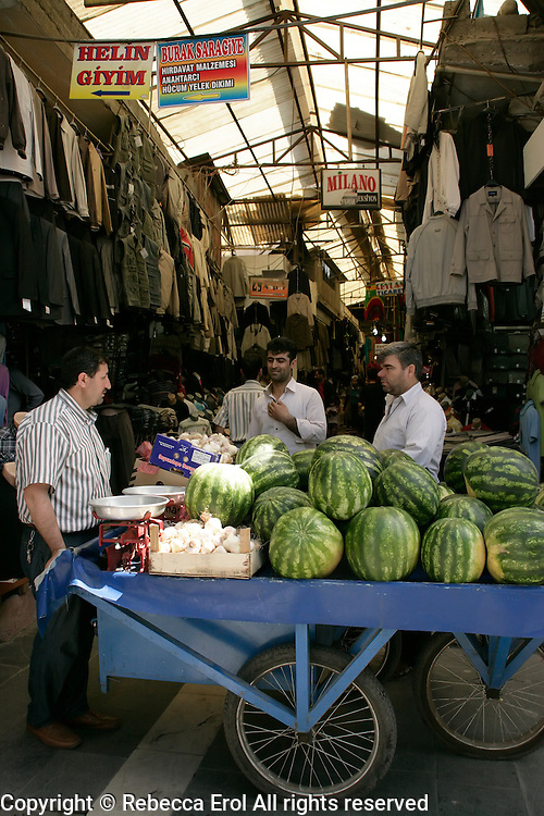 Watermelons in covered market, Diyarbakir, southeastern Turkey