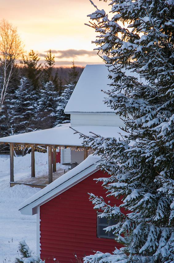 A snowy farm in winter on Michigan's Upper Peninsula.