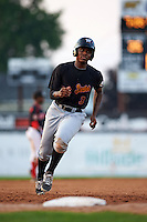 West Virginia Black Bears third baseman Ke'Bryan Hayes (3) running the bases during a game against the Batavia Muckdogs on August 30, 2015 at Dwyer Stadium in Batavia, New York.  Batavia defeated West Virginia 8-5.  (Mike Janes/Four Seam Images)