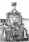 A head-on view of D&amp;RGW #278 at Gunnison with the roundhouse as the backdrop.<br /> D&amp;RGW  Gunnison, CO  Taken by Thode, Jackson C.