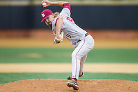 Florida State Seminoles relief pitcher Gage Smith (19) in action against the Florida State Seminoles at Wake Forest Baseball Park on April 19, 2014 in Winston-Salem, North Carolina.  The Seminoles defeated the Demon Deacons 4-3 in 13 innings.  (Brian Westerholt/Four Seam Images)