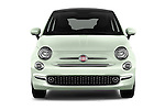 Car photography straight front view of a 2016 Fiat 500 Lounge 3 Door Hatchback Front View
