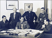 BNPS.co.uk (01202 558833)<br /> D&W/BNPS<br /> <br /> PICTURED: David Dennis (second right)<br /> <br /> The gallantry medals of a World War Two pilot who survived an incredible 105 bombing sorties have sold for over £17,000.<br /> <br /> Wing Commander David Dennis helped take out 8,000 tonnes of German shipping during the four years he flew in Bomber Command.<br /> <br /> His huge tally of raids on Nazi targets over Germany, Holland and France defied the odds, given that the fatality rate of Bomber Command crew was nearly 45 per cent. Of the 125,000 airmen who served, 55,000 were killed.<br /> <br /> Many casualties perished in their first handful of raids and to complete one tour - 30 sorties - was considered a major achievement. Wg Cdr Dennis' total was the equivalent of three and half tours, <br /> <br /> His medal group, including the Distinguished Service Order and Distinguished Flying Cross with Bar, was sold with auction house Dix Noonan Webb of London.
