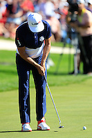 Ricky Fowler (Team USA) during Sunday Singles matches at the Ryder Cup, Hazeltine National Golf Club, Chaska, Minnesota, USA. 02/10/2016<br /> Picture: Golffile | Fran Caffrey<br /> <br /> <br /> All photo usage must carry mandatory copyright credit (&copy; Golffile | Fran Caffrey)