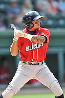 Shortstop Grenny Cumana (12) of the Lakewood BlueClaws bats in a game against the Greenville Drive on Sunday, June 26, 2016, at Fluor Field at the West End in Greenville, South Carolina. Greenville won, 2-1. (Tom Priddy/Four Seam Images)