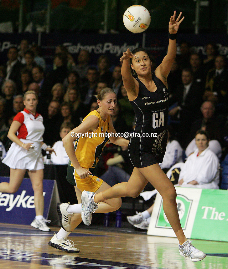 31.07.2006. Silver Ferns Maria Tutaia in action during the Silver Ferns v South Africa Netball test match played at Trusts Stadium Auckland. Photo Credit Michael Bradley.