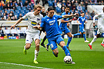 14.04.2019, PreZero Dual Arena, Sinsheim, GER, 1. FBL, TSG 1899 Hoffenheim vs. Hertha BSC Berlin, <br /> <br /> DFL REGULATIONS PROHIBIT ANY USE OF PHOTOGRAPHS AS IMAGE SEQUENCES AND/OR QUASI-VIDEO.<br /> <br /> im Bild: Per Ciljan Skjelbred (#3, Hertha BSC Berlin) gegen Nico Schulz (TSG 1899 Hoffenheim #16)<br /> <br /> Foto © nordphoto / Fabisch