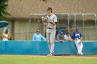 Cal Poly San Luis Obispo Mustangs Nick DiCarlo (7) on defense against the UC-Riverside Highlanders at Riverside Sports Complex on May 26, 2018 in Riverside, California. The Cal Poly SLO Mustangs defeated the UC Riverside Highlanders 6-5. (Donn Parris/Four Seam Images)