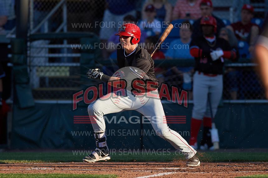 Batavia Muckdogs first baseman Sean Reynolds (25) follows through on a swing during a game against the Auburn Doubledays on June 15, 2018 at Falcon Park in Auburn, New York.  Auburn defeated Batavia 5-1.  (Mike Janes/Four Seam Images)