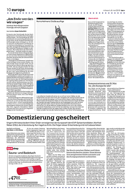 die tageszeitung taz (German daily) citing our photographers' views of the new European Parliament's agenda. Riga, Latvia, 05.2019.<br /> Photo: Reinis Hofmanis