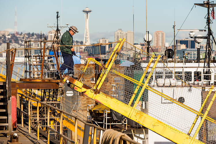 January 14th, 2016 &mdash; Seattle, WA, USA<br /> <br /> The 14,000-long ton capacity drydock Vigilant that is to support hundreds of industrial jobs at Vigor Industrial&rsquo;s shipyard on Seattle&rsquo;s Harbor Island.<br /> <br /> Photograph by Stuart Isett<br /> &copy;2015 Stuart Isett. All rights reserved.