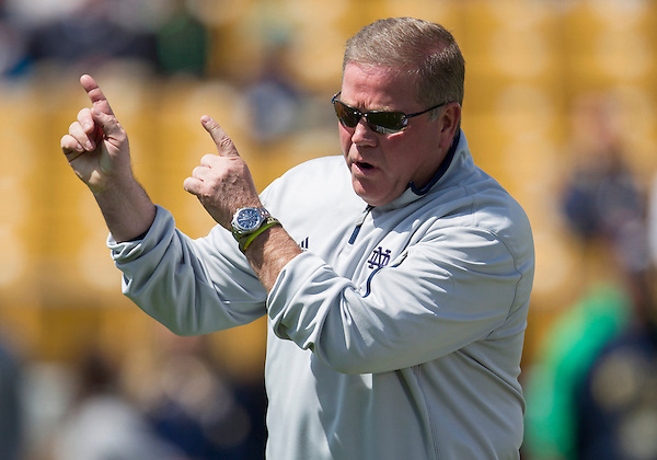 April 21, 2012:  Notre Dame Fighting Irish head coach Brian Kelly during the Notre Dame Blue-Gold Spring game at Notre Dame Stadium in South Bend, Indiana.  The Defense topped the Offense by a score of 42-31.