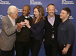 Playwright John Guare, Actors Corey Hawkins, Allison Janney, John Benjamin Hickey and Director Trip Cullman attend the 'Six Degrees Of Separation' Cast Meet & Greet at The attend the 'Six Degrees Of Separation' Cast Meet & Greet at The New 42nd Street Studios on March 1, 2017 in New York City.