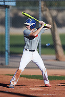 Connor Moylan (48), from Novato, California, while playing for the Indians during the Under Armour Baseball Factory Recruiting Classic at Red Mountain Baseball Complex on December 28, 2017 in Mesa, Arizona. (Zachary Lucy/Four Seam Images)