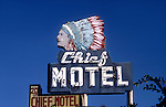 Motel Sign with Native American imagery in Long Beach, CA
