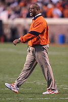 CHARLOTTESVILLE, VA- NOVEMBER 12: Virginia Cavaliers head coach Mike London coaches his team during the game against the Virginia Cavaliers on November 28, 2011 at Scott Stadium in Charlottesville, Virginia. Virginia Tech defeated Virginia 38-0. (Photo by Andrew Shurtleff/Getty Images) *** Local Caption *** Mike London