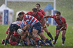 Eugene Beneke & Cody Martin watch through the rain as Kahn Fotuali'i takes the ball from the base of a ruck. Air New Zealand Air NZ Cup warm-up rugby game between the Counties Manukau Steelers & Tasman Mako's, played at Growers Stadium Pukekohe on Sunday July 20th 2008..Counties Manukau won the match 30 - 7.