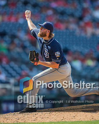 24 July 2016: San Diego Padres pitcher Brandon Maurer on the mound against the Washington Nationals at Nationals Park in Washington, DC. The Padres defeated the Nationals 10-6 to take the rubber match of their 3-game, weekend series. Mandatory Credit: Ed Wolfstein Photo *** RAW (NEF) Image File Available ***