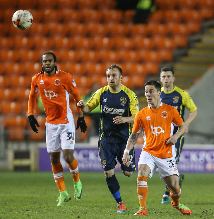 Blackpool's Ian Black plays a ball over the top<br /> <br /> Photographer Alex Dodd/CameraSport<br /> <br /> The EFL Sky Bet League Two - Blackpool v Stevenage - Tuesday 14th March 2017 - Bloomfield Road - Blackpool<br /> <br /> World Copyright &copy; 2017 CameraSport. All rights reserved. 43 Linden Ave. Countesthorpe. Leicester. England. LE8 5PG - Tel: +44 (0) 116 277 4147 - admin@camerasport.com - www.camerasport.com