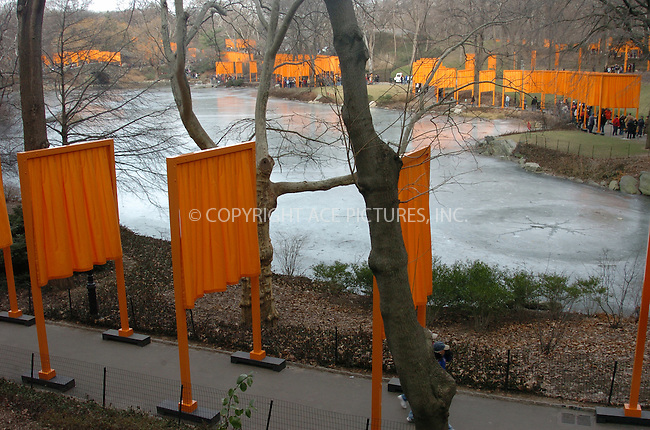 WWW.ACEPIXS.COM . . . . .  ....NEW YORK, FEBRUARY 24, 2005....Jeanne-Claude and Christo's The Gates in Central Park.....Please byline: AJ Sokalner - ACE PICTURES..... *** ***..Ace Pictures, Inc:  ..Philip Vaughan (646) 769-0430..e-mail: info@acepixs.com..web: http://www.acepixs.com