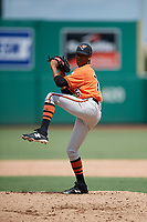 Baltimore Orioles pitcher Yeankrlos Lleras (76) delivers a pitch during a Florida Instructional League game against the Boston Red Sox on September 21, 2018 at JetBlue Park in Fort Myers, Florida.  (Mike Janes/Four Seam Images)