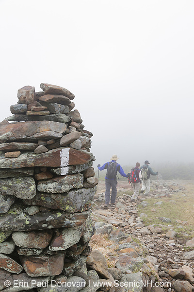 Group of hikers descending the Appalachian Trail (Beaver Brook Trail) on the summit of Mount Moosilauke, in Benton, New Hampshire USA during the summer months in foggy conditions.
