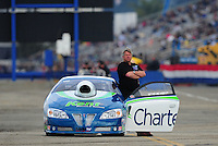 Feb. 11, 2012; Pomona, CA, USA; NHRA pro stock driver Steve Kent during qualifying for the Winternationals at Auto Club Raceway at Pomona. Mandatory Credit: Mark J. Rebilas-