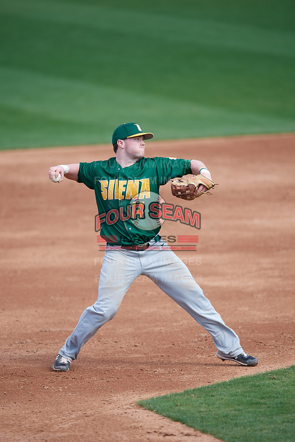 Siena Saints third baseman Brian Kelly (14) throws to first base during a game against the UCF Knights on February 17, 2019 at John Euliano Park in Orlando, Florida.  UCF defeated Siena 7-1.  (Mike Janes/Four Seam Images)