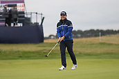 6th October 2017, Carnoustie Golf Links, Carnoustie, Scotland; Alfred Dunhill Links Championship, second round; England's Tyrrell Hatton, winner in 2016, grins after holing a birdie putt on the 18th hole during the second round at the Alfred Dunhill Links Championship on the Championship Links, Carnoustie