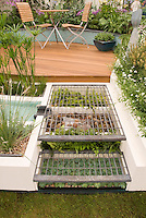 Creative use of small unused garden space: growing succulents such as Sempervirens and ferns under steps made of wire grate, leading to circular backyard deck with patio furniture, raised beds with water garden plants