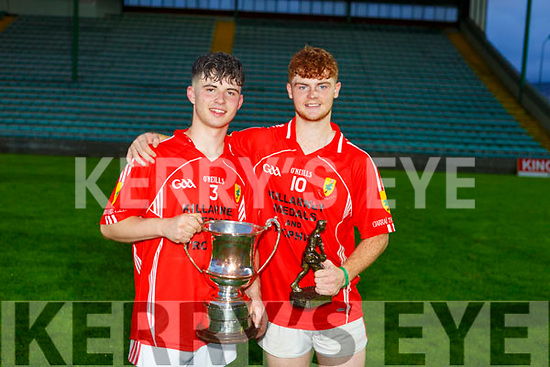 East Kerry Dylan O'Callaghan who was awarded man of the match stands with his winning captain Owen Fitzgerald at the Minor County Football Championship Final against St Brendans in Austin Stack Park on Tuesday night.