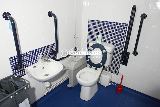 Toilet and sink accessible to wheelchair users with heightened visibility of floor, sink and toilet.