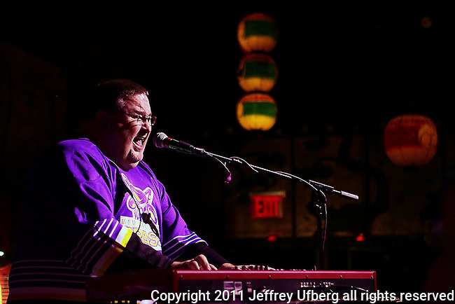 November 3, 2011 New York: Singer / Musician John Gros of Papa Grows Funk peforms Hiro Ballroom on November 3, 2011 in New York.