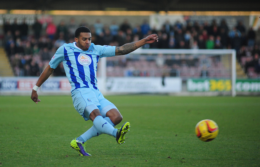 Coventry City's Cyrus Christie <br /> <br /> Photo by Chris Vaughan/CameraSport<br /> <br /> Football - The Football League Sky Bet League One - Coventry City v Oldham Athletic - Sunday 29th December 2013 - Sixfields Stadium - Northampton<br /> <br /> &copy; CameraSport - 43 Linden Ave. Countesthorpe. Leicester. England. LE8 5PG - Tel: +44 (0) 116 277 4147 - admin@camerasport.com - www.camerasport.com