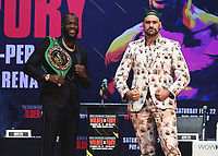 LOS ANGELES - DECEMBER 13:  Deontay Wilder and Tyson Fury at the Fox Sports Deontay Wilder vs Tyson Fury II Los Angeles Press Conference on January 13, 2020 at The Novo by Microsoft at L.A. Live in Los Angeles, California. (Photo by Scott Kirkland/Fox Sports/PictureGroup)