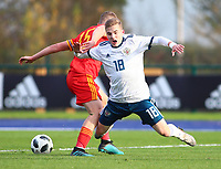 16th November 2019; Leckwith Stadium, Cardiff, Glamorgan, Wales; European Championship Under 19 2020 Qualifiers, Russia under 19s v Wales under 19s; Maksim Petrov of Russia Under 19 goes down in the box but no foul was given - Editorial Use