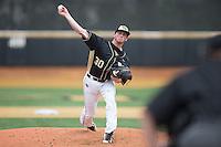 Wake Forest Demon Deacons starting pitcher Connor Johnstone (30) delivers a pitch to the plate against the Miami Hurricanes at Wake Forest Baseball Park on March 22, 2015 in Winston-Salem, North Carolina.  The Demon Deacons defeated the Hurricanes 10-4.  (Brian Westerholt/Four Seam Images)