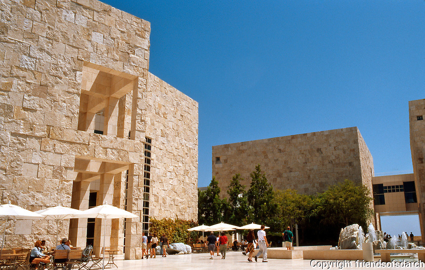 "Richard Meier: The Getty Center. East Pavilion (left) and South Pavilion (right) from courtyard. (The ""old Jerusalem quarter""?)  Photo '99."