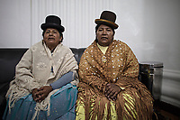 La Paz, Bolivia<br /> Wednesday November 13, 2019<br /> Congress Women from MAS Party and representatives of La Paz talks during an interview in the Capital city of La Paz.  After the October 20 presidential elections and resignation of President Evo Morales, there is a lot of protests in many regions of Bolivia.