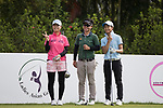 Golfers Atomi Shiota of Japan (L) Wanchana Poruangrong of Thailand (C) and  Tzu-Yi Chang of Taiwan (R) pose for photos during the 2017 Hong Kong Ladies Open on June 9, 2017 in Hong Kong, China. Photo by Chris Wong / Power Sport Images