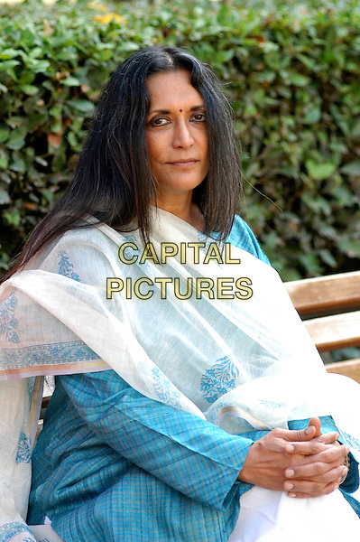 "DEEPA MEHTA.Photocall for film ""Water"",.Rome, Italy, October 2nd 2006..half length blue sari dress sitting.Ref: CAV.www.capitalpictures.com.sales@capitalpictures.com.©Luca Cavallari/Capital Pictures."