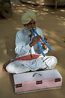 Hindu traditional Flute player, Thar desert, Rajasthan, India
