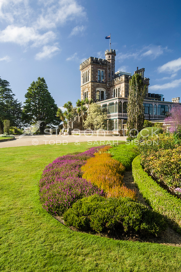 Formal gardens and historic Larnach Castle, Otago Peninsula, New Zealand - stock photo, canvas, fine art print