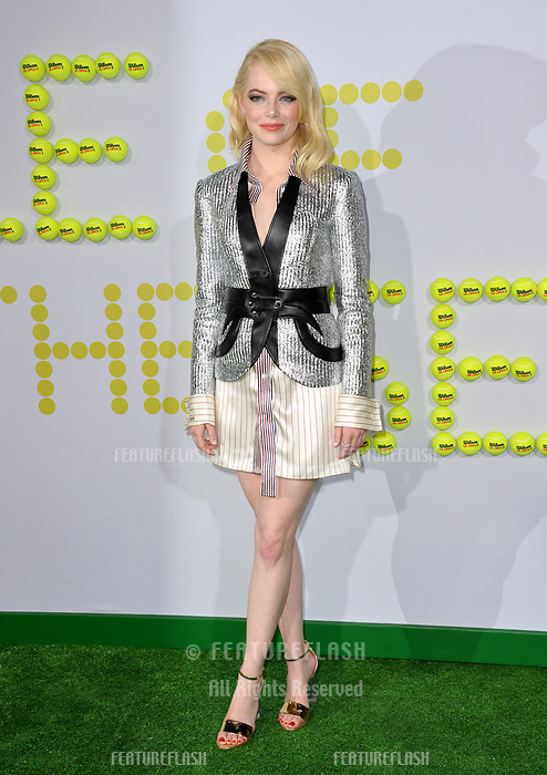Emma Stone at the premiere for &quot;Battle of the Sexes&quot; at the Regency Village Theatre, Westwood, Los Angeles, USA 16 September  2017<br /> Picture: Paul Smith/Featureflash/SilverHub 0208 004 5359 sales@silverhubmedia.com