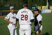 Tri-City ValleyCats starting pitcher Mark Appel #28 talks with pitching coach Doug White #13 and catcher Jake Rodriguez #6 before his first professional start against the Lowell Spinners on July 5, 2013 at Joseph L. Bruno Stadium in Troy, New York.  Appel was the first overall selection of the 2013 Major League Baseball Draft by the Houston Astros out of Stanford University.  (Mike Janes/Four Seam Images)
